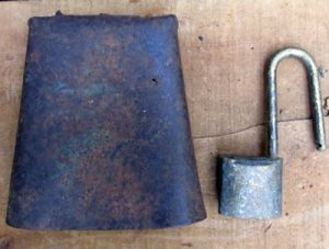 Rusted Cow Bell and Lock